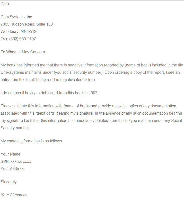 chexsystems letter